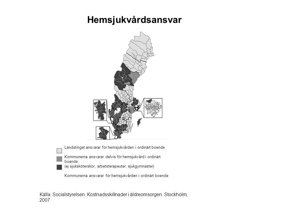 Hemsjukvårdsansvar Landstinget ansvarar för hemsjukvården i ordinärt boende.