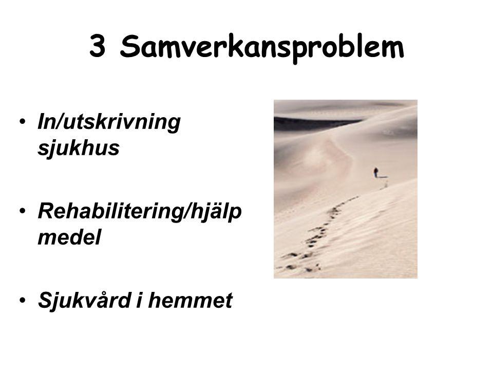 3 Samverkansproblem In/utskrivning sjukhus Rehabilitering/hjälpmedel