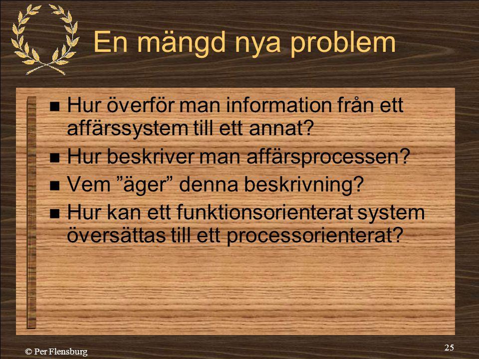 En mängd nya problem Hur överför man information från ett affärssystem till ett annat Hur beskriver man affärsprocessen