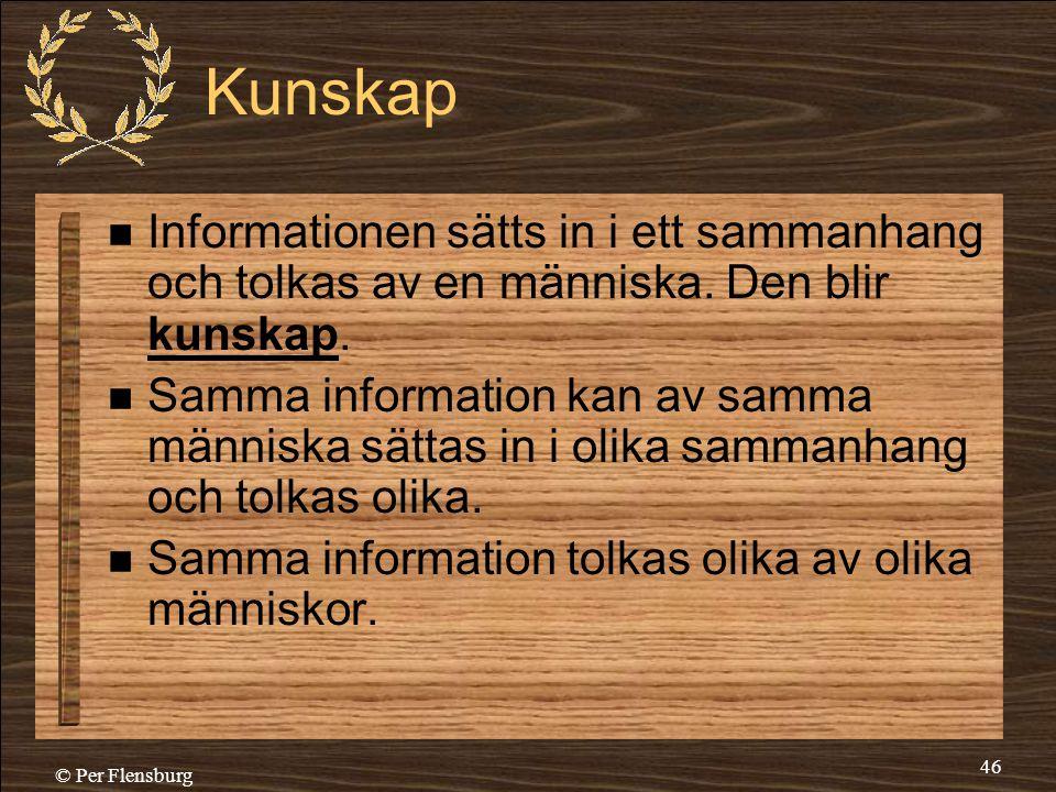 Kunskap Informationen sätts in i ett sammanhang och tolkas av en människa. Den blir kunskap.