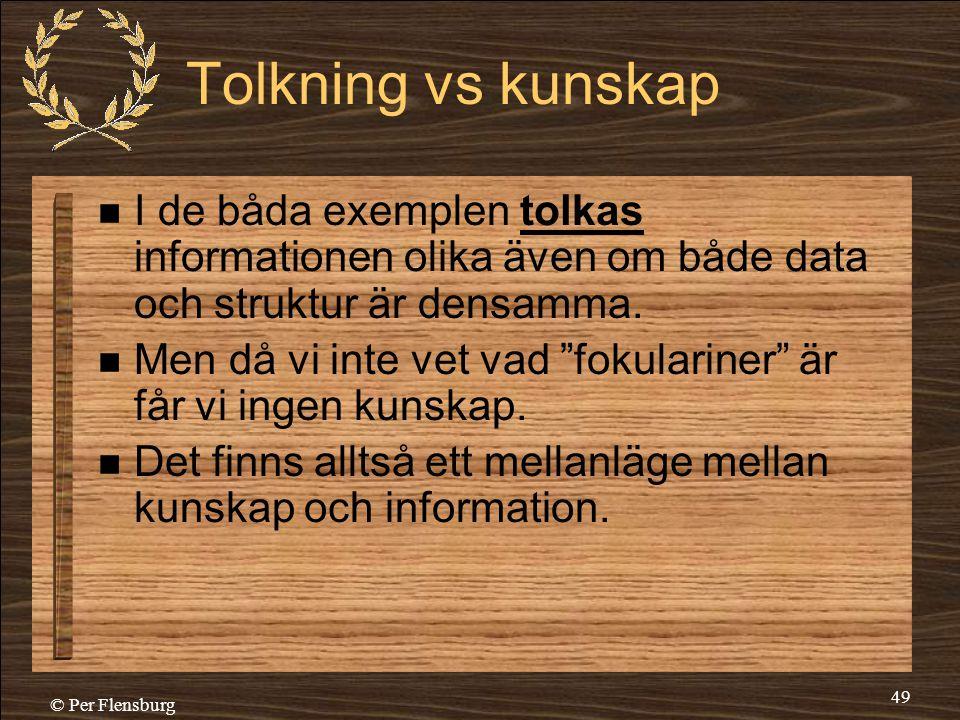 Tolkning vs kunskap I de båda exemplen tolkas informationen olika även om både data och struktur är densamma.