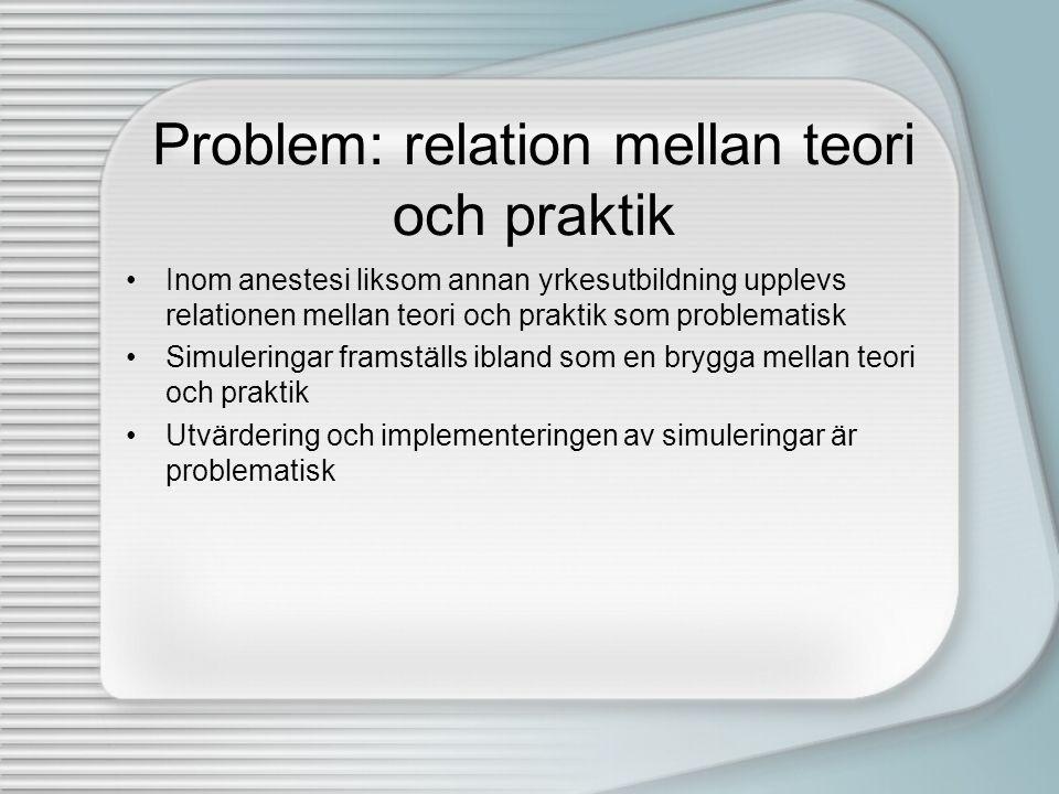 Problem: relation mellan teori och praktik