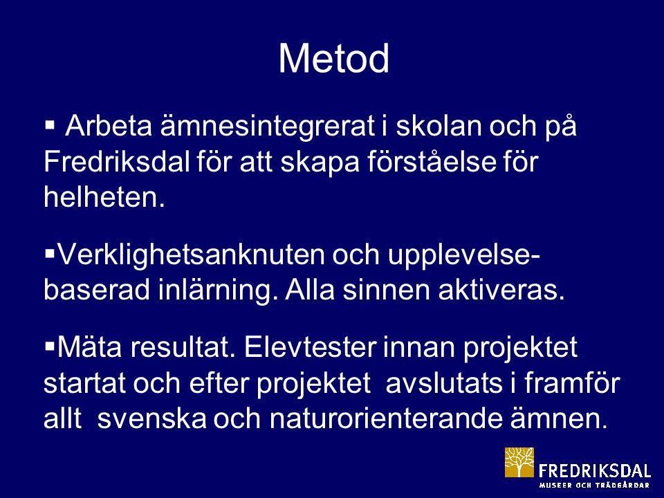 Metod Arbeta ämnesintegrerat i skolan och på Fredriksdal för att skapa förståelse för helheten.