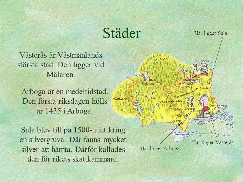 Västerås är Västmanlands största stad. Den ligger vid Mälaren.