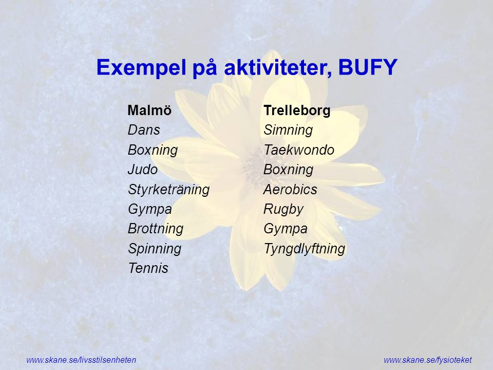 Exempel på aktiviteter, BUFY