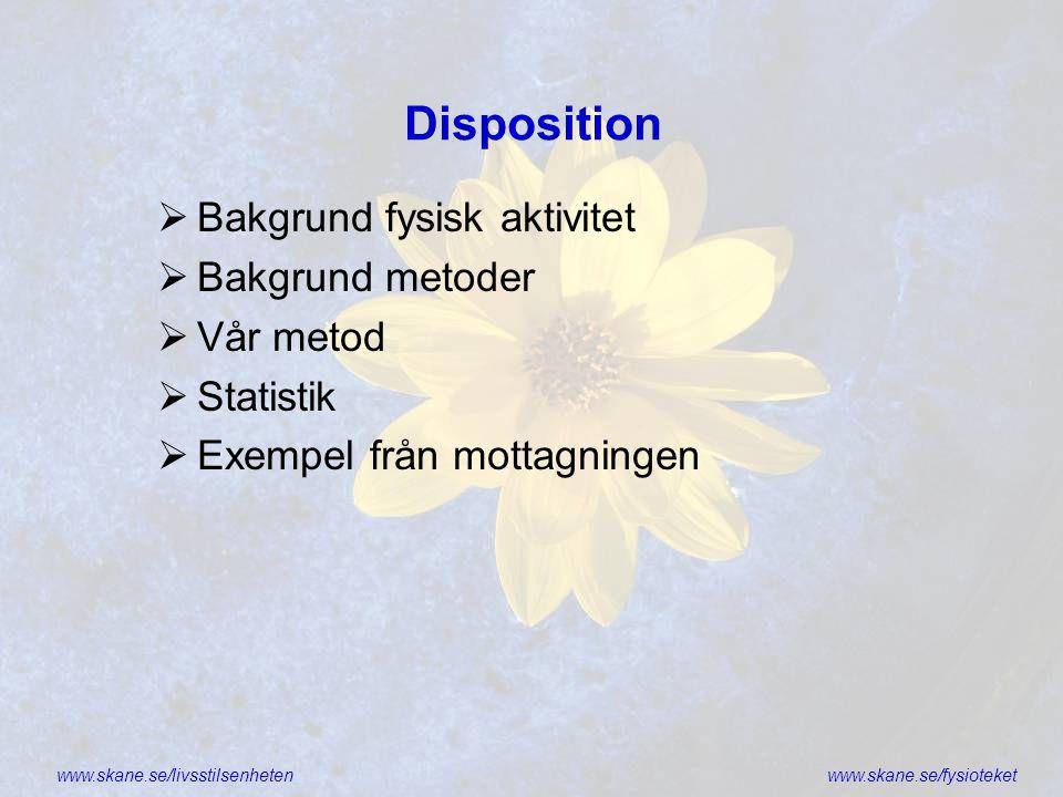 Disposition Bakgrund fysisk aktivitet Bakgrund metoder Vår metod