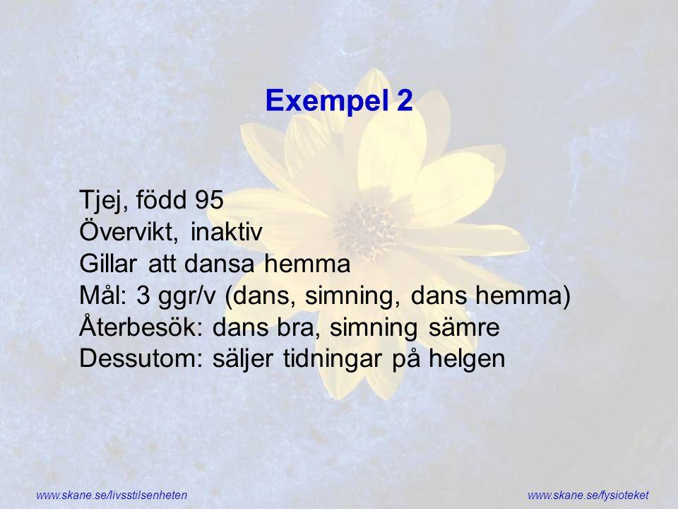 Exempel 2 Tjej, född 95 Övervikt, inaktiv Gillar att dansa hemma