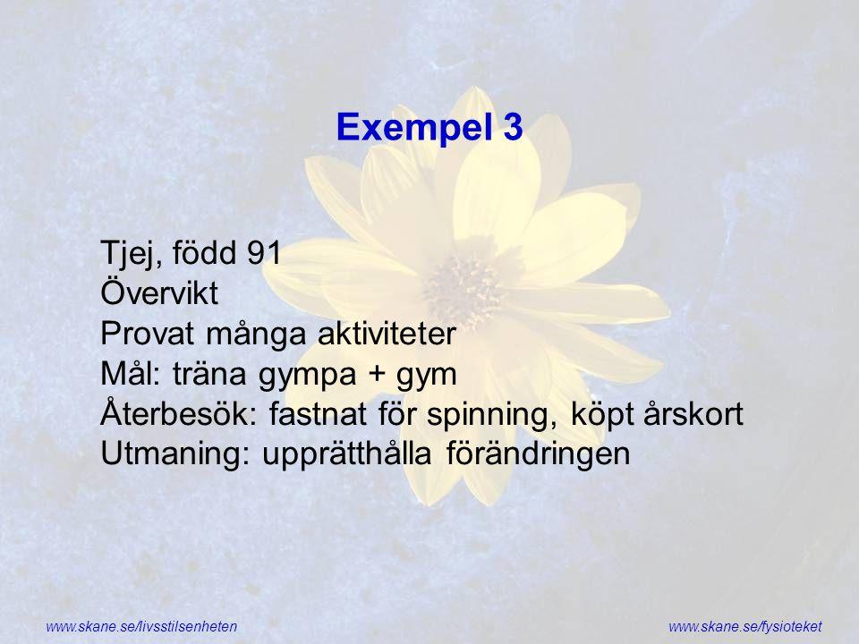 Exempel 3 Tjej, född 91 Övervikt Provat många aktiviteter