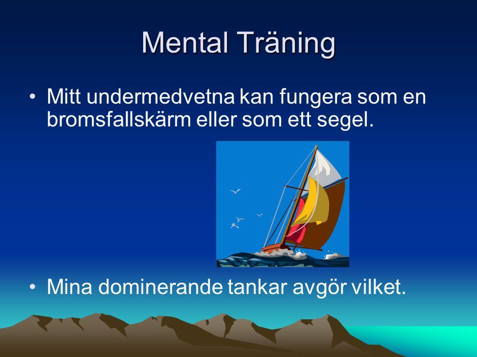 Mental Träning Mitt undermedvetna kan fungera som en bromsfallskärm eller som ett segel.