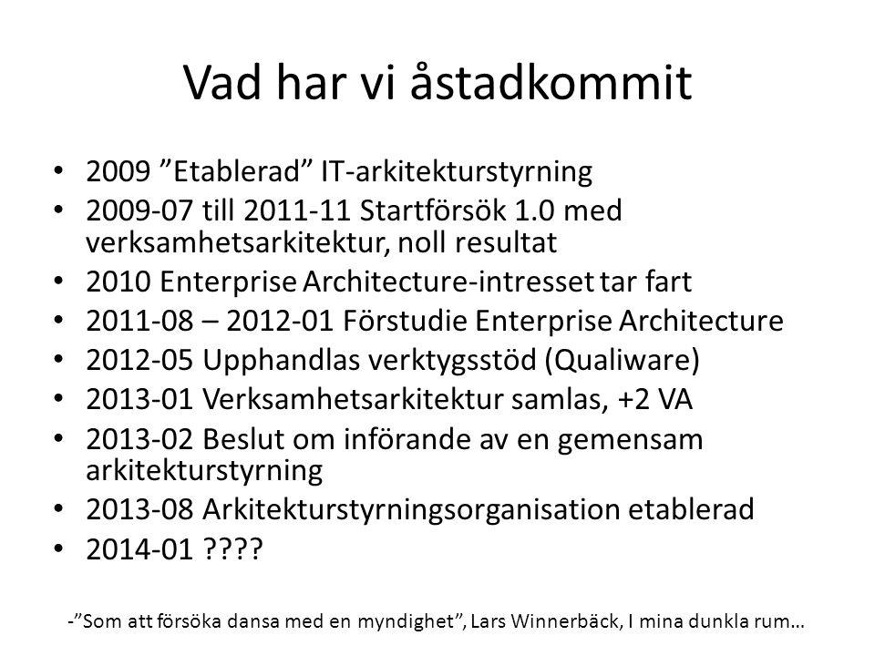 Vad har vi åstadkommit 2009 Etablerad IT-arkitekturstyrning