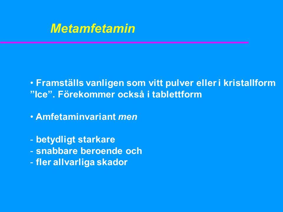 Metamfetamin Framställs vanligen som vitt pulver eller i kristallform Ice . Förekommer också i tablettform.