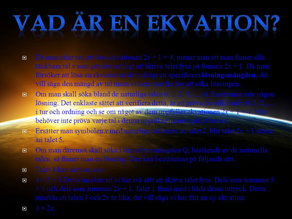 Vad är en ekvation