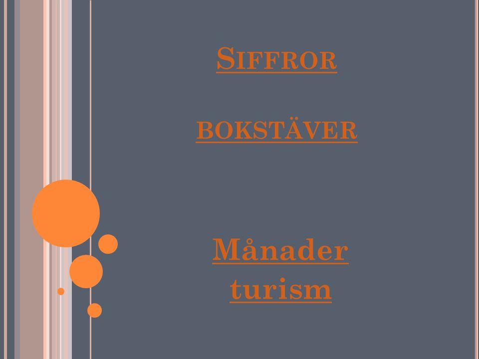 Siffror bokstäver Månader turism