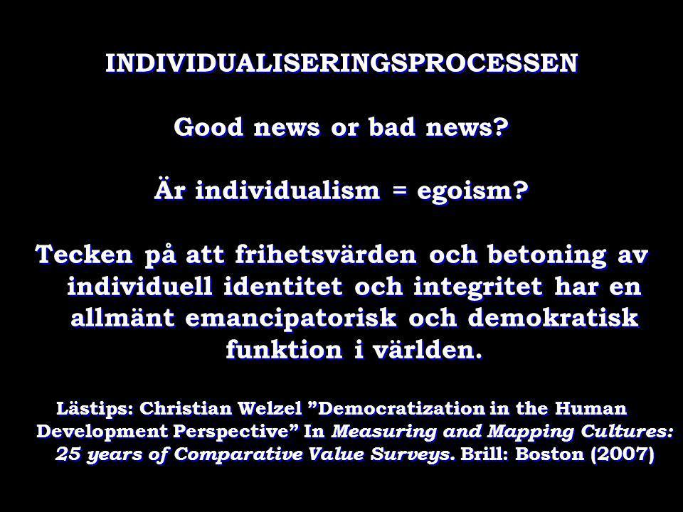 INDIVIDUALISERINGSPROCESSEN Är individualism = egoism