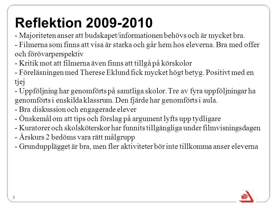 Reflektion 2009-2010 - Majoriteten anser att budskapet/informationen behövs och är mycket bra.