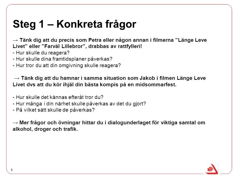 Steg 1 – Konkreta frågor → Tänk dig att du precis som Petra eller någon annan i filmerna Länge Leve Livet eller Farväl Lillebror , drabbas av rattfylleri.