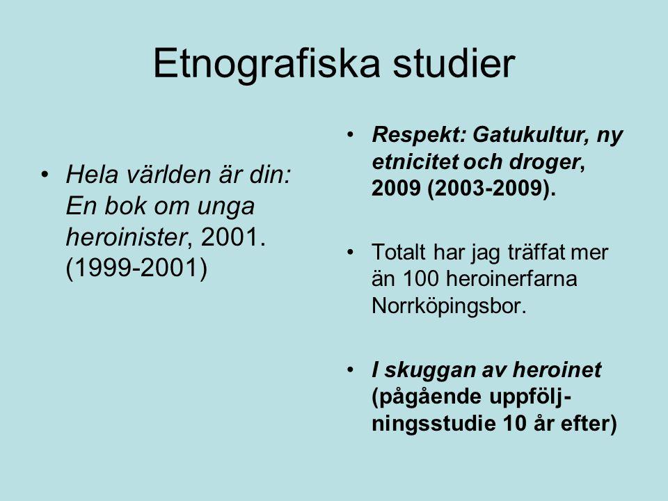 Etnografiska studier Hela världen är din: En bok om unga heroinister, 2001. (1999-2001)
