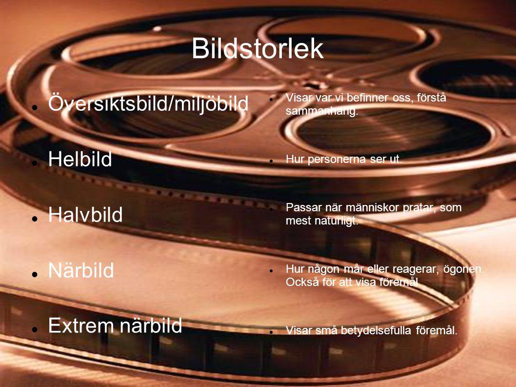 Bildstorlek Översiktsbild/miljöbild Helbild Halvbild Närbild
