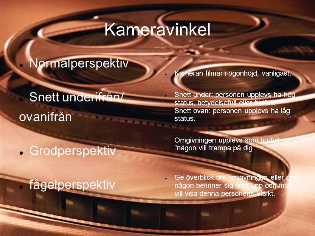 Kameravinkel Normalperspektiv Snett underifrån/ ovanifrån