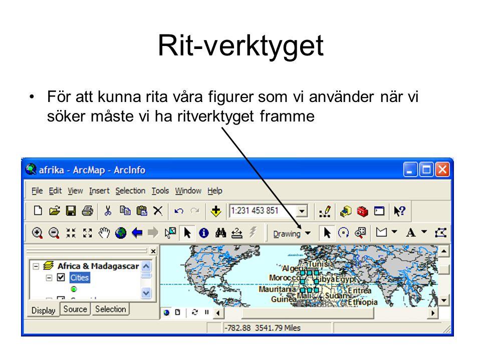 Rit-verktyget För att kunna rita våra figurer som vi använder när vi söker måste vi ha ritverktyget framme.