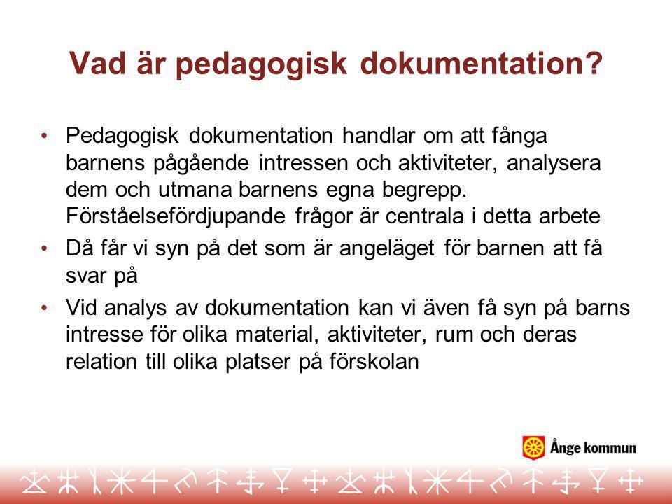 Vad är pedagogisk dokumentation