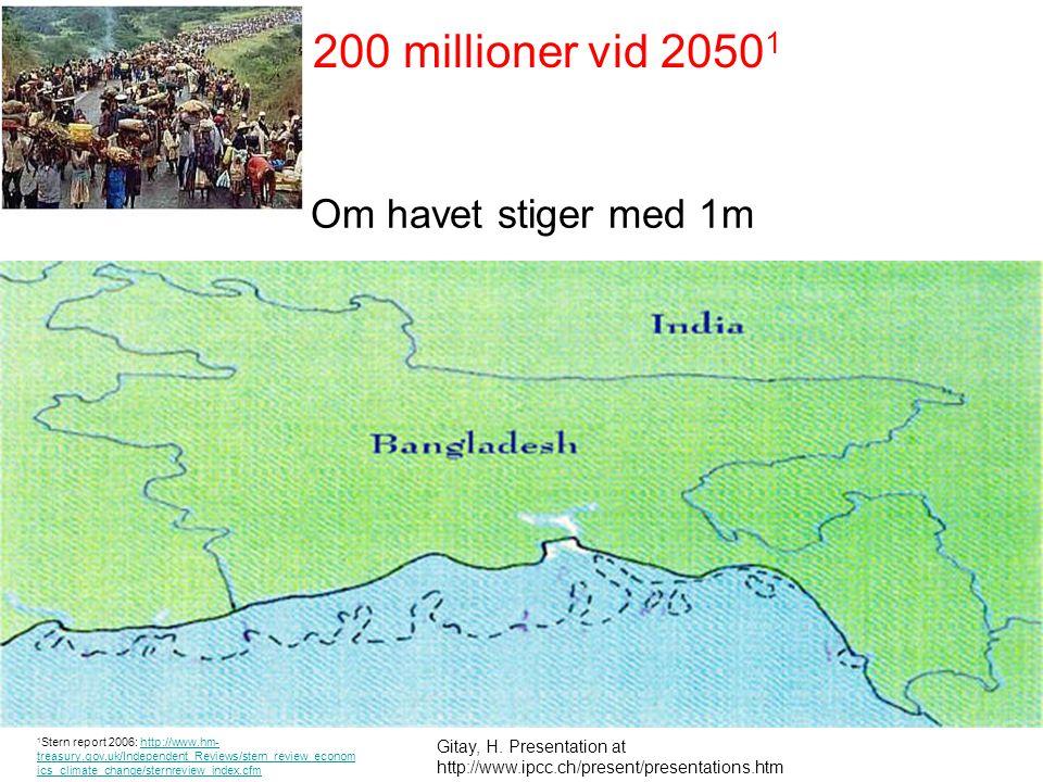 200 millioner vid 20501 Om havet stiger med 1m projected