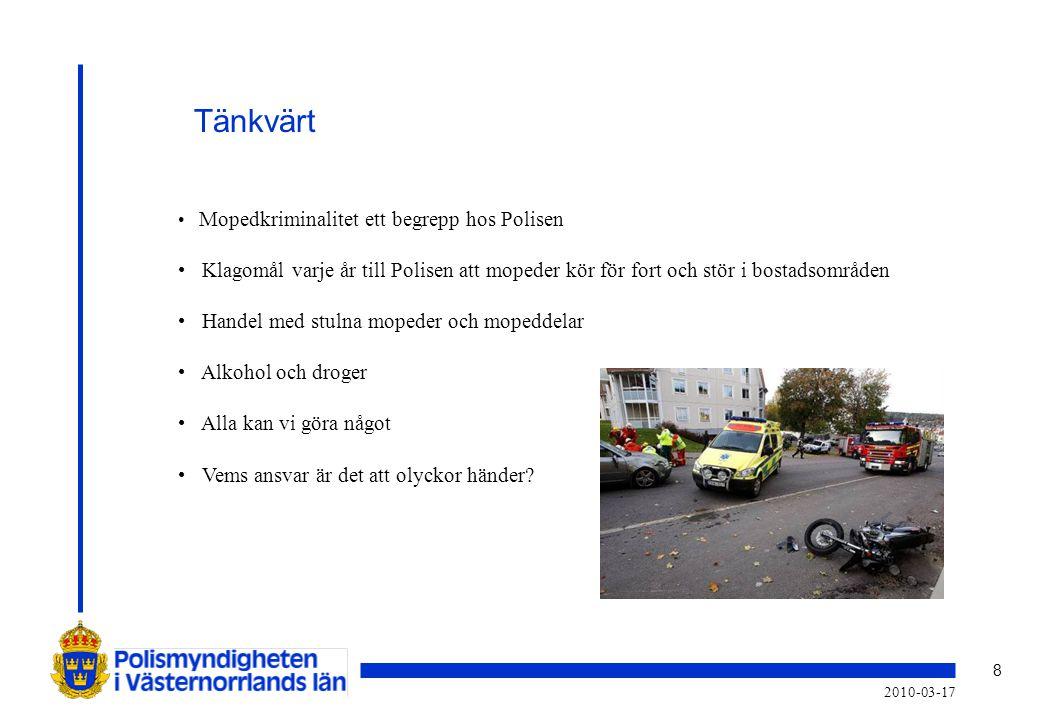 Tänkvärt Mopedkriminalitet ett begrepp hos Polisen. Klagomål varje år till Polisen att mopeder kör för fort och stör i bostadsområden.