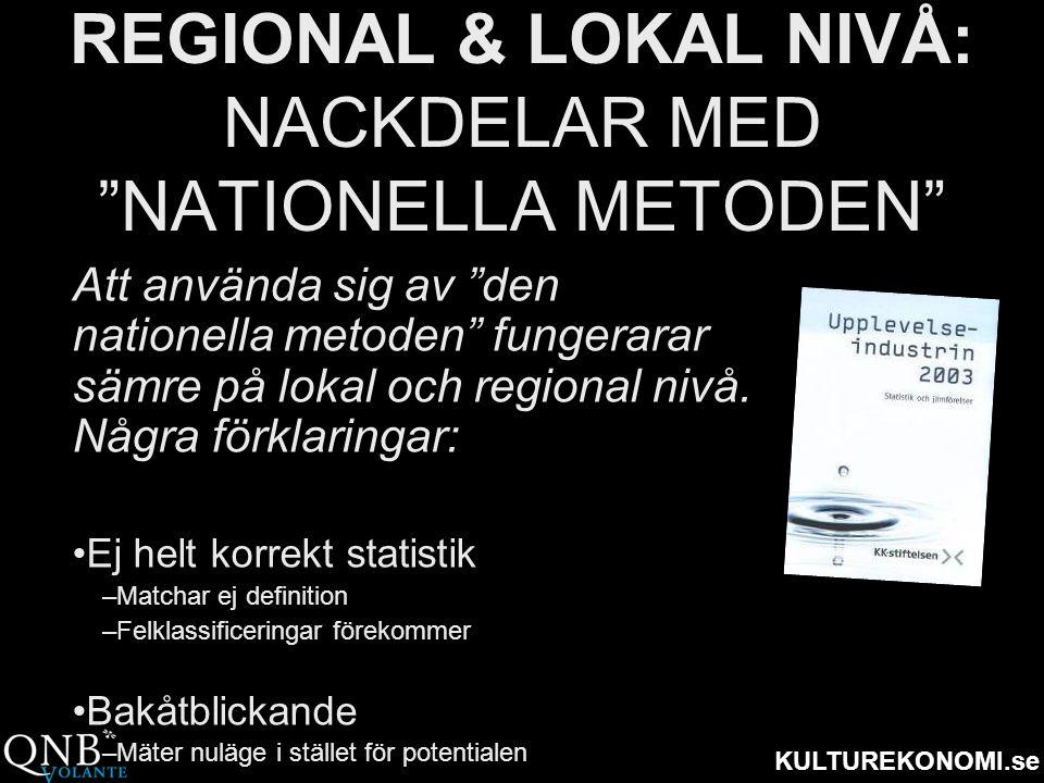 REGIONAL & LOKAL NIVÅ: NACKDELAR MED NATIONELLA METODEN