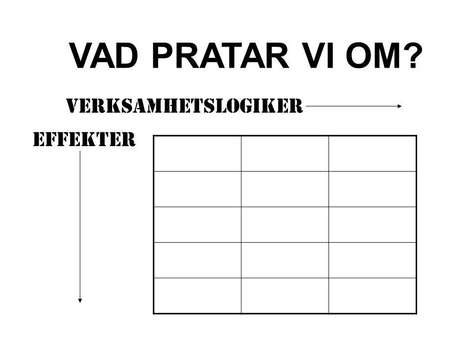 VAD PRATAR VI OM VERKSAMHETSLOGIKER EFFEKTER
