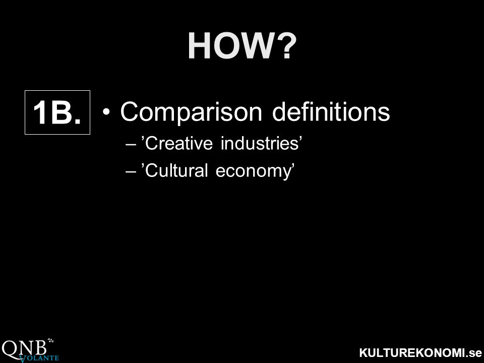 HOW 1B. Comparison definitions 'Creative industries'