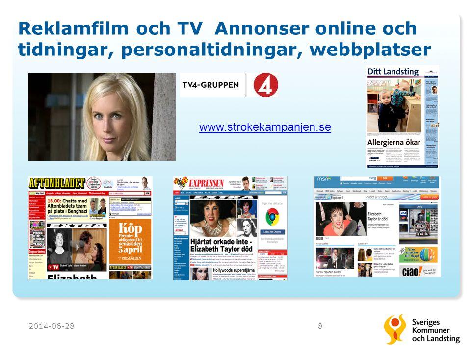 Reklamfilm och TV Annonser online och tidningar, personaltidningar, webbplatser