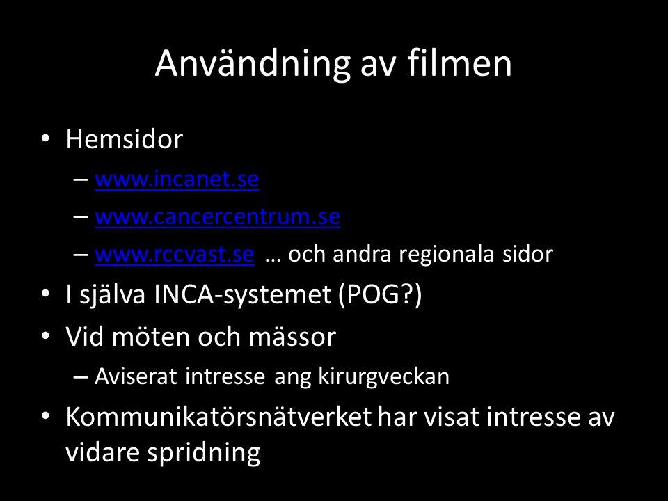 Användning av filmen Hemsidor I själva INCA-systemet (POG )