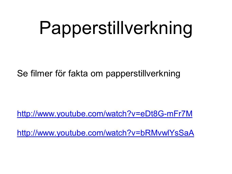 Papperstillverkning Se filmer för fakta om papperstillverkning