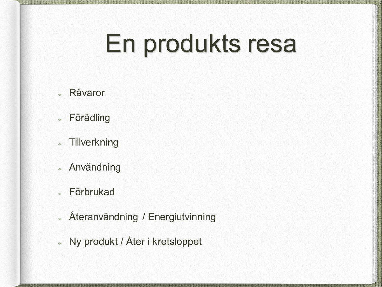 En produkts resa Råvaror Förädling Tillverkning Användning Förbrukad
