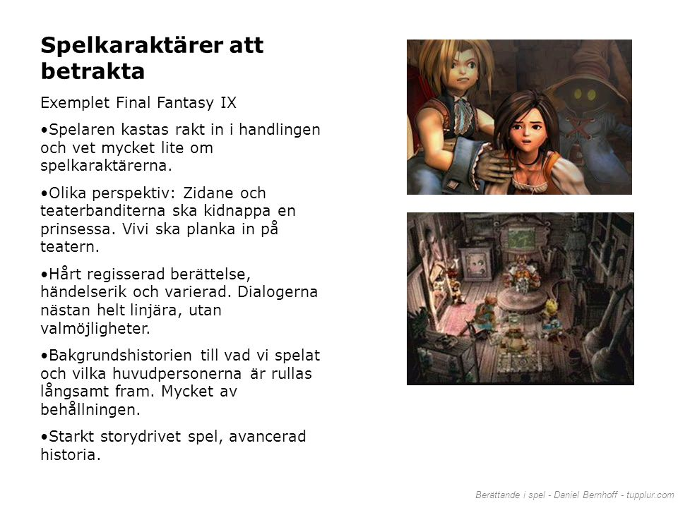 Spelkaraktärer att betrakta