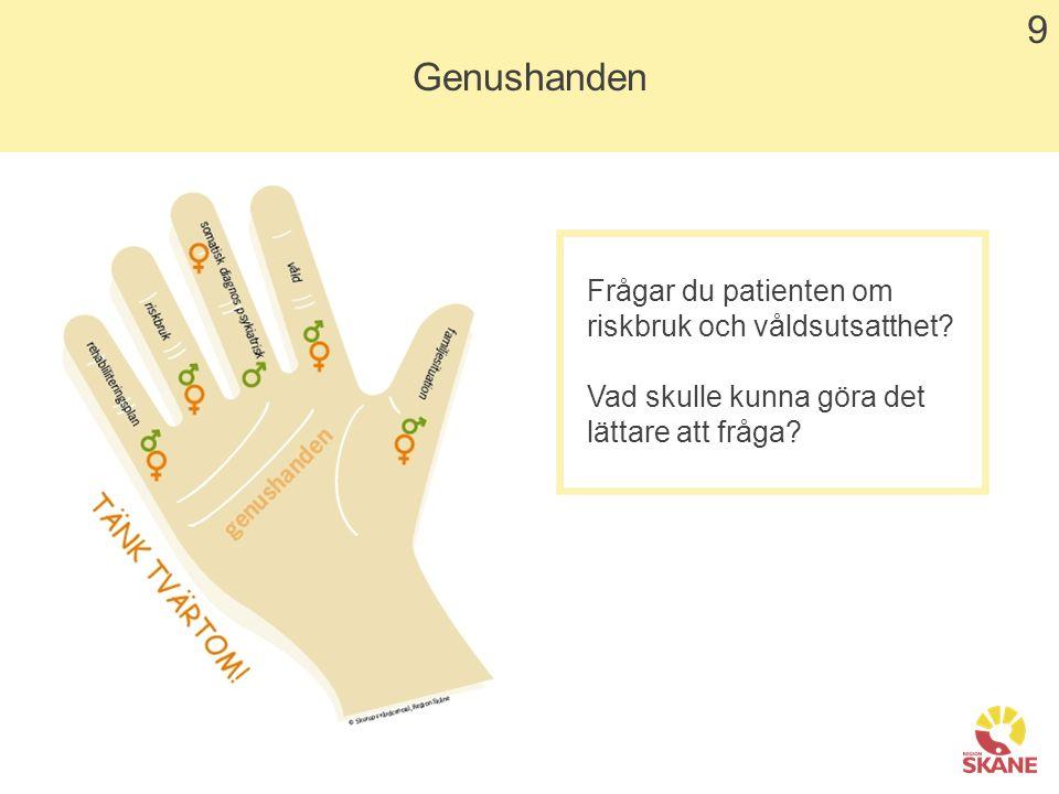 9 Genushanden Frågar du patienten om riskbruk och våldsutsatthet