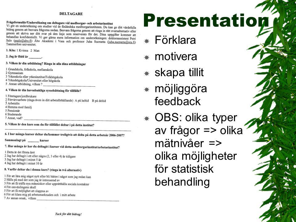 Presentation Förklara motivera skapa tillit möjliggöra feedback
