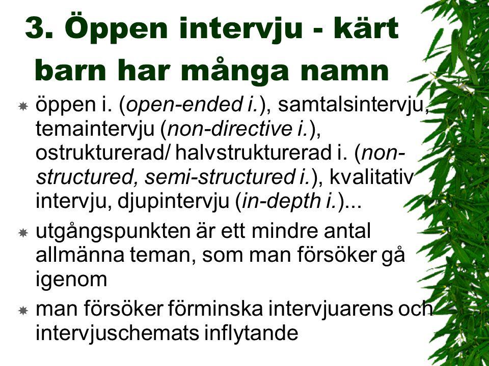 3. Öppen intervju - kärt barn har många namn