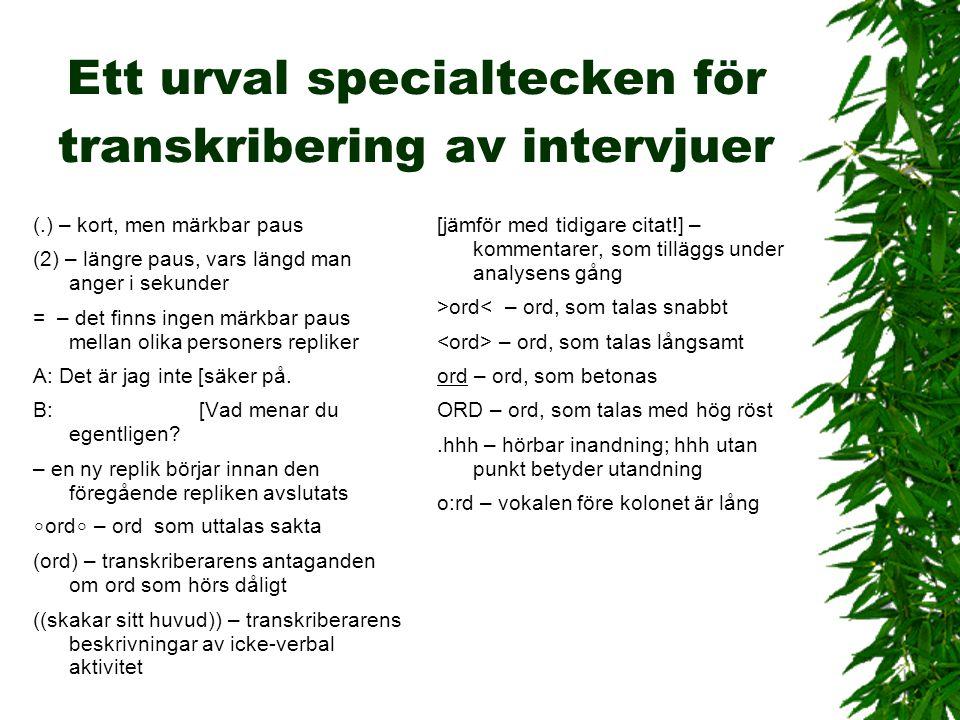 Ett urval specialtecken för transkribering av intervjuer