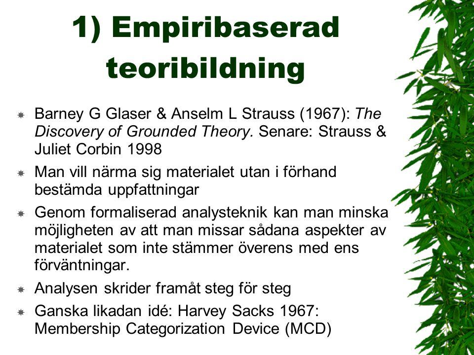1) Empiribaserad teoribildning