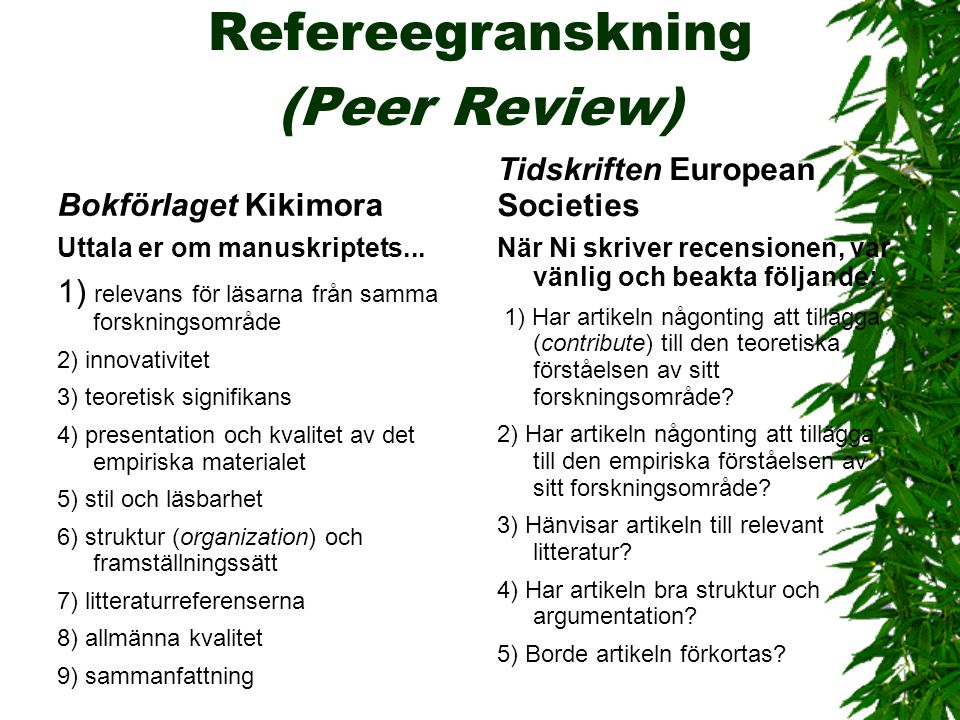 Refereegranskning (Peer Review)