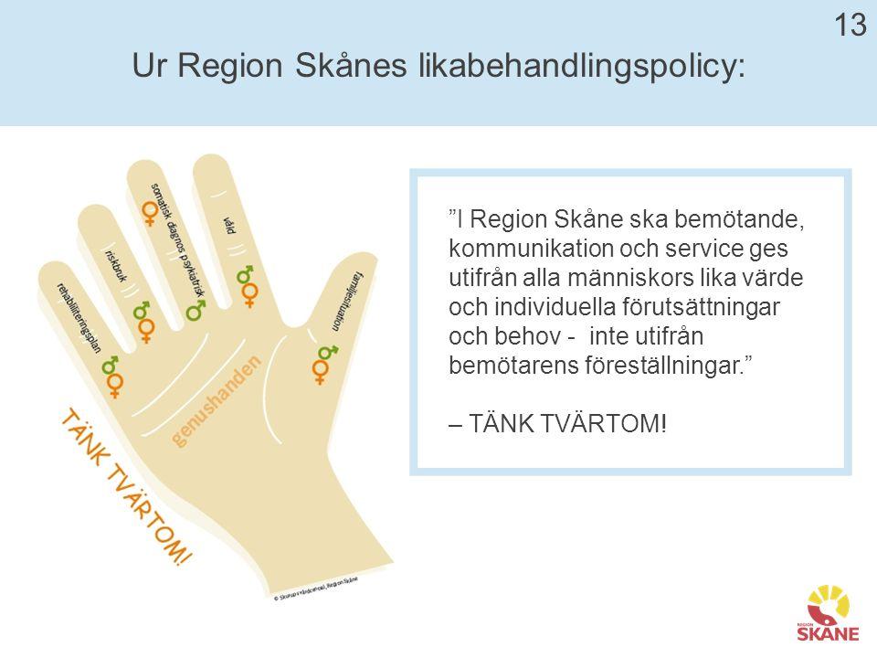 Ur Region Skånes likabehandlingspolicy: