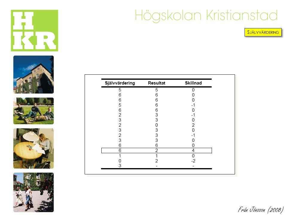 Självvärdering Från Jönsson (2008)