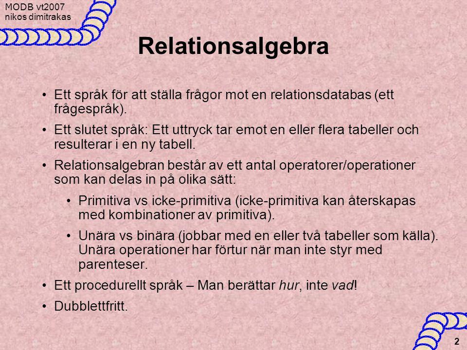 Relationsalgebra Ett språk för att ställa frågor mot en relationsdatabas (ett frågespråk).