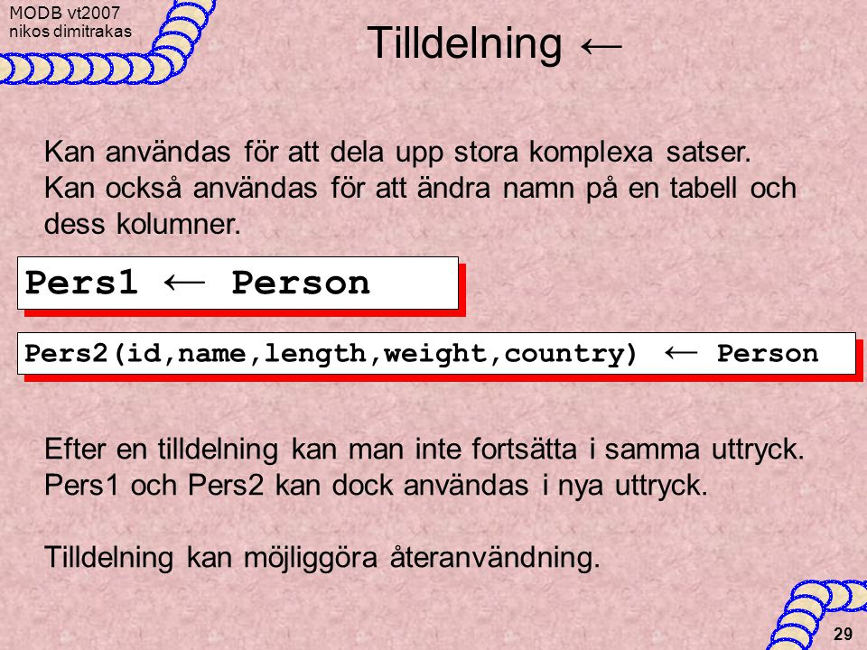 Tilldelning ← Pers1 ← Person