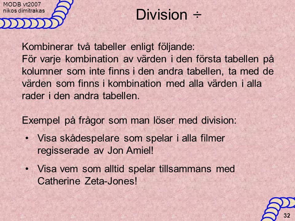 Division ÷ Kombinerar två tabeller enligt följande: