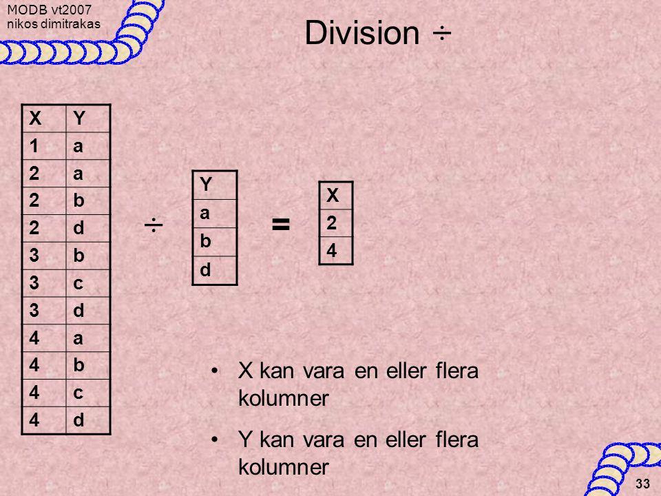 Division ÷ ÷ = X kan vara en eller flera kolumner