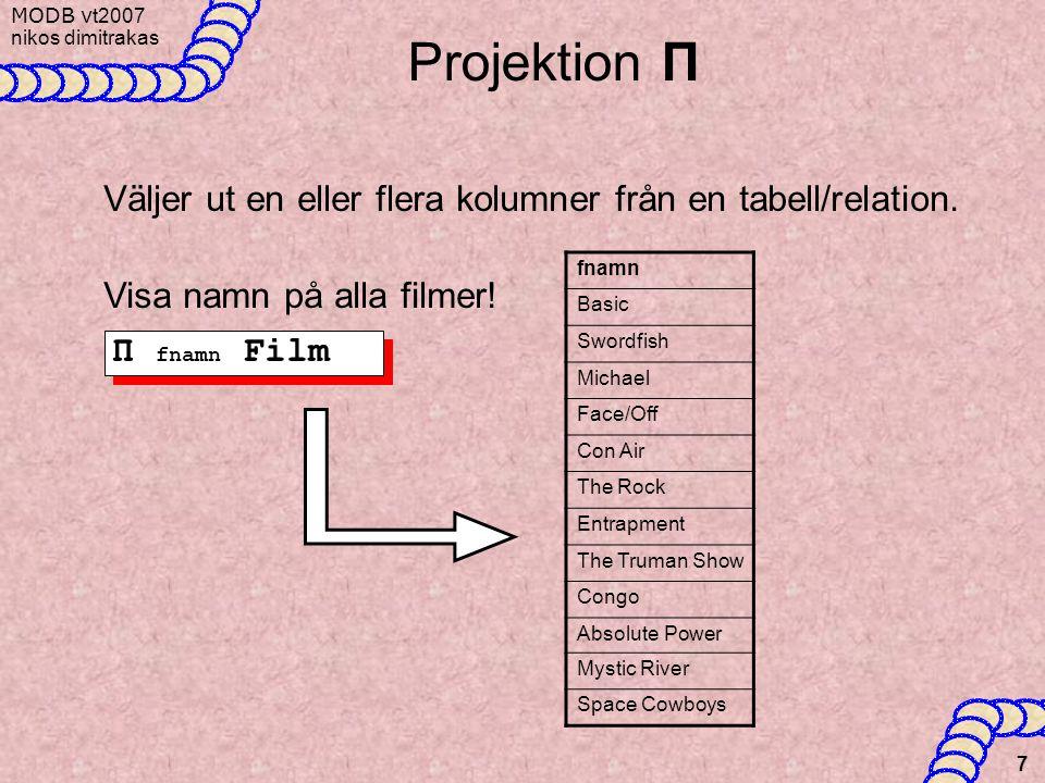 Projektion Π Väljer ut en eller flera kolumner från en tabell/relation. Visa namn på alla filmer! fnamn.