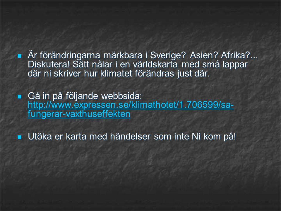 Är förändringarna märkbara i Sverige. Asien. Afrika. Diskutera