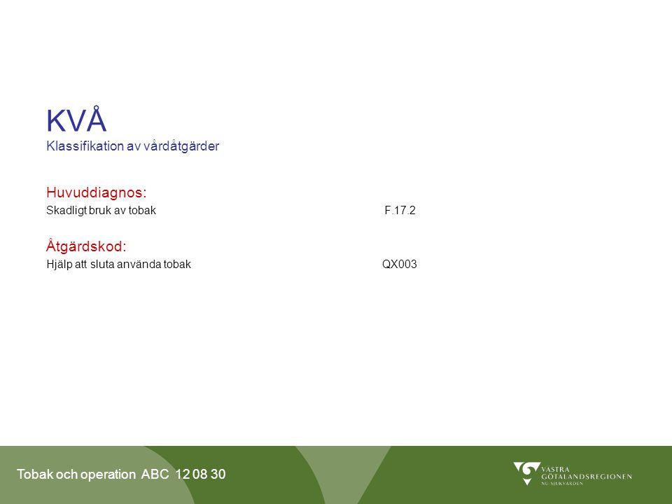 KVÅ Klassifikation av vårdåtgärder